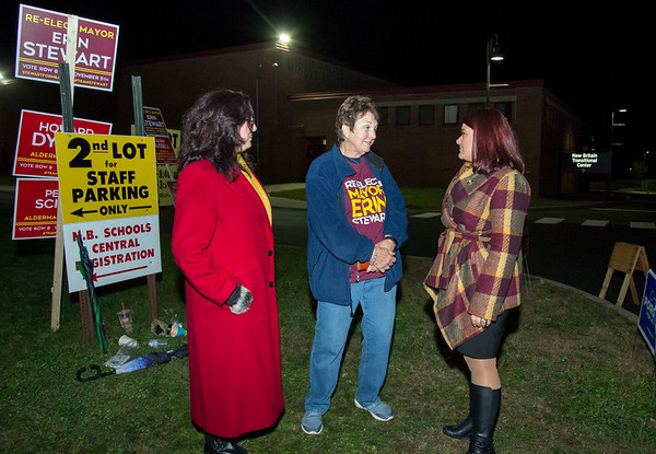 11/05/19 Wesley Bunnell | StaffrrMayor Erin Stewart makes her last stop of the day at Slade Middle School to speak to supporters on Tuesday evening. Sharon Beloin-Saavedra, L, Helen Cieslowski and Mayor Stewart.