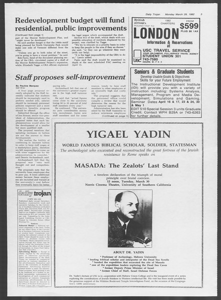 Daily Trojan, Vol. 91, No. 52, March 29, 1982