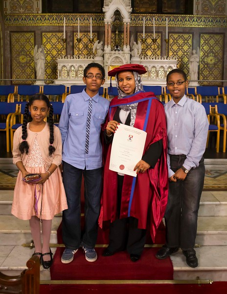 Waterford Institute Of Technology Conferring. Pictured at WIT Waterford Institute Of Technology Conferring is Reem Elsiddig, Waterford who was conferred a Doctor of Philosophy, also pictured are Dania, Ahmed and Mohamed Elsiddig. Picture: Patrick Browne