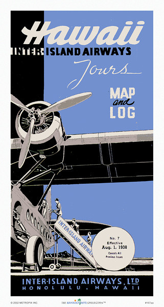 167: 'Hawaii Inter-Island Airways Tours' Map and Log cover, ca 1935, showing passengers boarding Hawaiian airplane from the earliest days of what later became Hawaiian Airlines. From our Hawaiian prints/posters collection.