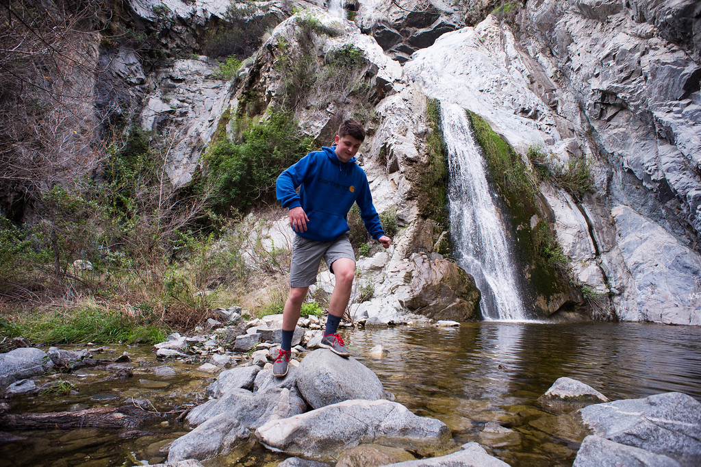 . Trevor Jamison, of Nebraska, checks out Fish Canyon Falls in Angeles National Forest on Friday, February 27, 2015. Duarte received a $25,000 grant from Los Angeles County to rehabilitate the trail. (Photo by Sarah Reingewirtz/Pasadena Star-News)