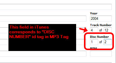 DISC NUMBER ID tag in iTunes