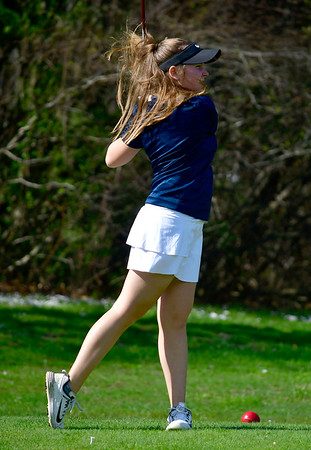 4/23/2019 Mike Orazzi | Staff Lauralton Hall's Bailey McGuigan at the Westwoods Golf Course on Tuesday.
