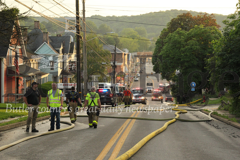 State Route 68 through Evan City remained closed for an extended period Wednesday night while fire crews tended to the St. Matthias Roman Catholic Church fire. Seb Foltz/Butler Eagle
