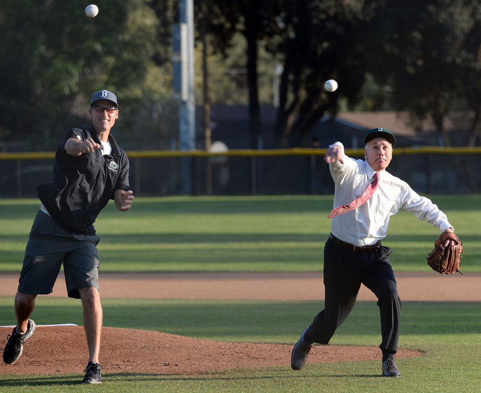 . Cereimonial first pitch prior to a prep baseball game between San Dimas and Bonita at Bonita High School in La Verne, Calif., on Wednesday, March 19, 2014.  (Keith Birmingham Pasadena Star-News)