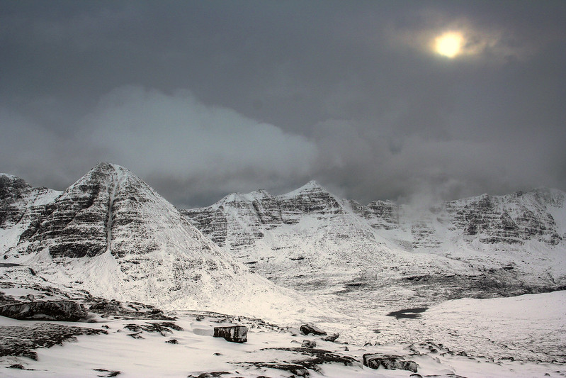 snow clouds over the Torridon peaks, from Beinn a'Chearcaill
