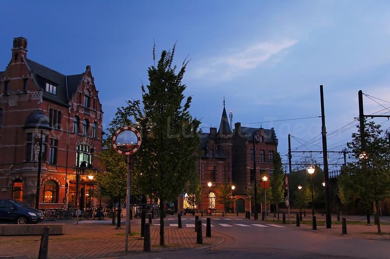 The Draakplaats in Antwerp - Berchem (Antwerpen), Belgium, captured at dusk.