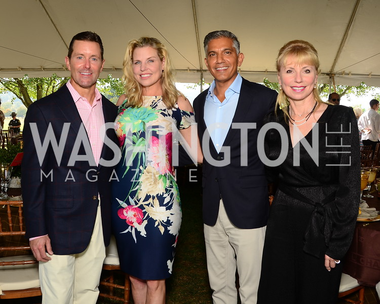 Bill Ballhaus, Darrin Mollett, Naj and Margerite Hassain  NVTRP Ride to Thrive Polo Classic, Great Meadow, Sep 28, 2019, photo by Nancy Milburn Kleck