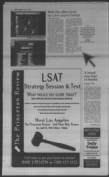 Daily Trojan, Vol. 133, No. 60, April 16, 1998