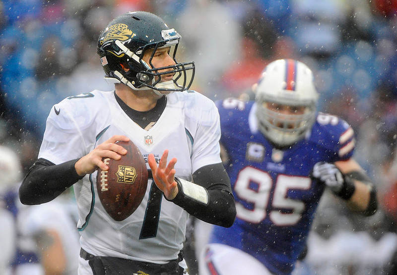. Jacksonville Jaguars\' Chad Henne (7) looks to pass as Buffalo Bills defensive tackle Kyle Williams (95) rushes the passer during the first half of an NFL football game Sunday, Dec. 2, 2012 in Orchard Park, N.Y. (AP Photo/Gary Wiepert)