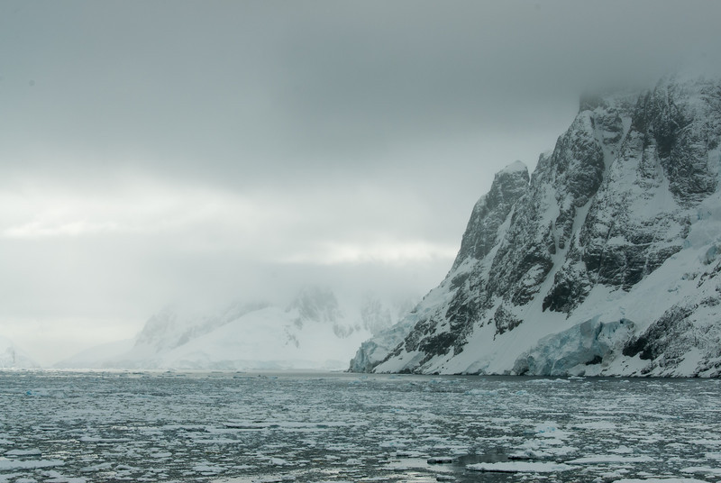 Mountains and pack ice in the Lemaire Channel