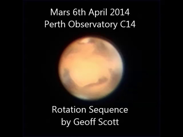 Mars Rotation sequence - 5/4/2013 (Processed stills into video)