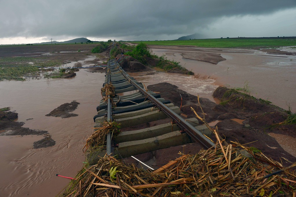 . Damage caused to the rail tracks in El Zapotillo by the overflowing of the neighboring river, in the state of Sinaloa, Mexico, on September 19, 2013.   AFP PHOTO/FERNANDO  Brito/AFP/Getty Images