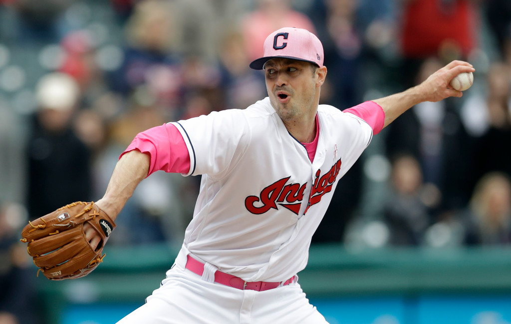 . Cleveland Indians relief pitcher Andrew Miller delivers in the ninth inning of a baseball game against the Kansas City Royals, Sunday, May 13, 2018, in Cleveland. The Indians won 11-2. (AP Photo/Tony Dejak)