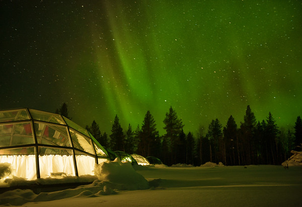 Glass igloos at Hotel Kakslauttanen in Finnish Lapland
