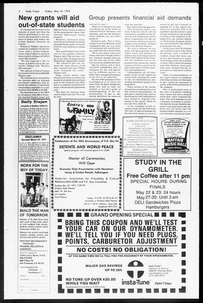 Daily Trojan, Vol. 67, No. 130, May 16, 1975