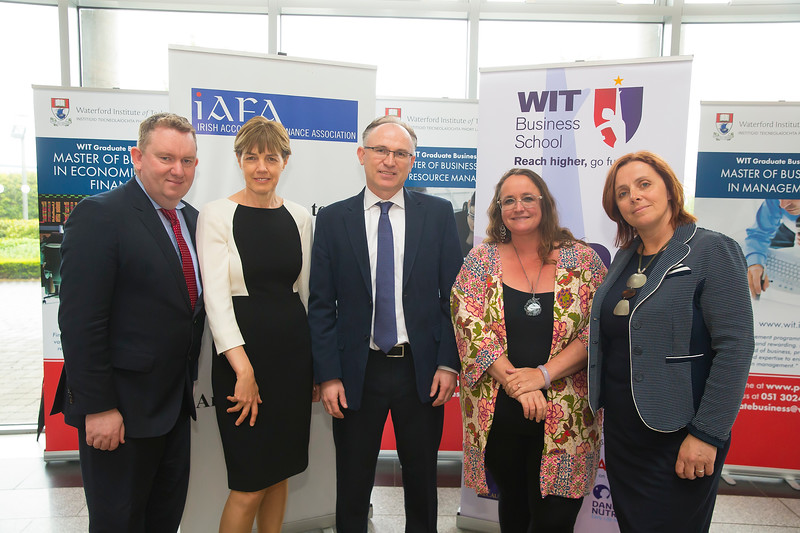 18/05/2016. Irish Accounting & Finance Accociation Annual Conference at WIT (Waterford Institute of Technology). Pictured are Joseph Coughlan NUI Maynooth, Joan Ballantine Ulster University, Prof Noel O'Sullivan Loughborough University UK, Prof Jill Atkins and Clare Kearney WIT . Picture: Patrick Browne