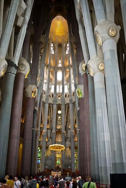 The tall, rising columns of La Sagrada Familia in Barcelona, Spain