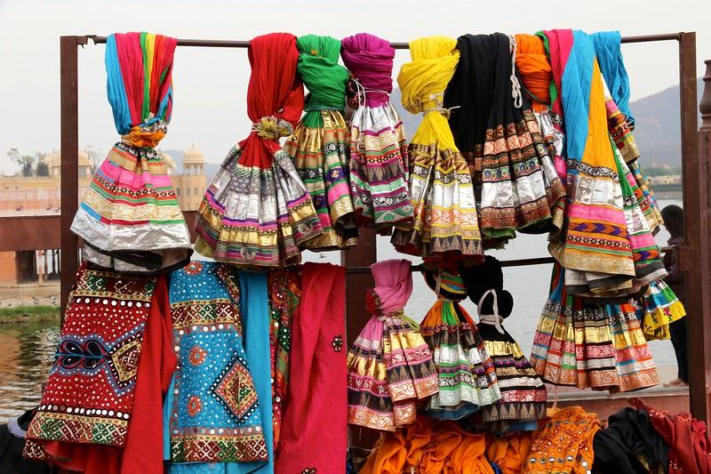 Vivid textiles at Jaipur market