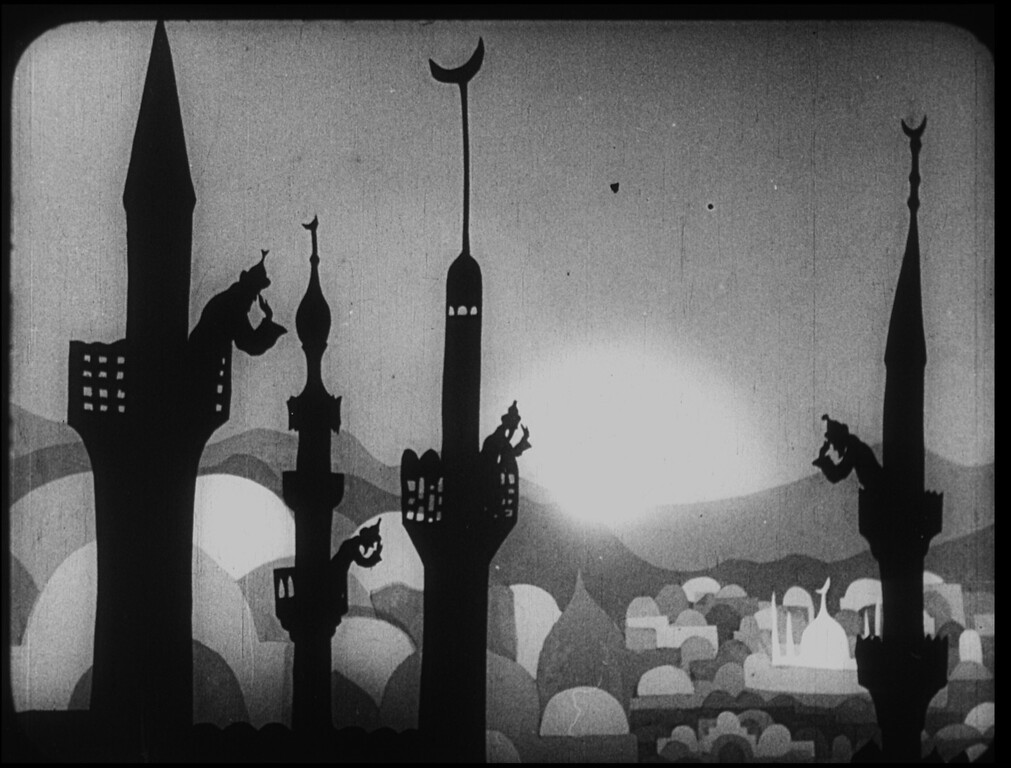 ". The Adventures of Prince Achmed, Lotte Reiniger (spires) is part of the exhibit ""Watch Me Move: The Animation Show\"" at the Detroit Institute of Arts."