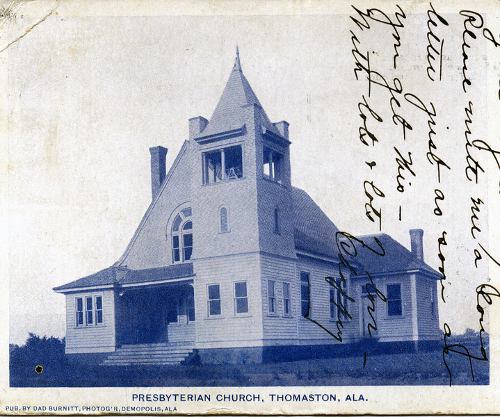 The Presbyterian Church, before it was destroyed, was located at the SE corner of the intersection of Highway 25 and 4th Avenue. Photo by Dad Burnitt of Demopolis, AL.