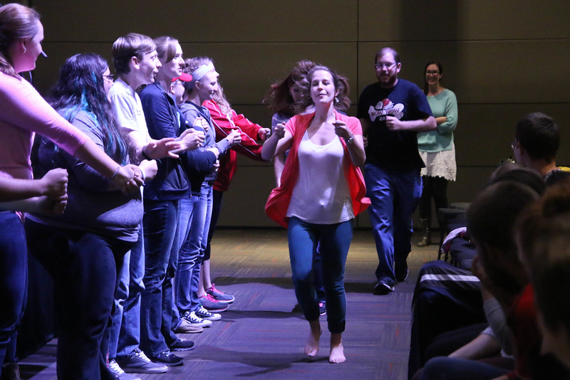 """After the breakout sessions FOCUS members met to go over rules and a short devotional lead by Erica Wright, FOCUS Coordinator, before all of that some of the FOCUS Leaders entertained the members by performing the comedy """"Beans Skit."""""""