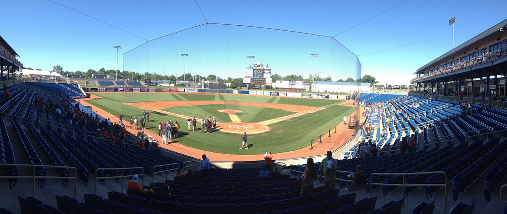 . Crowd starting to file in for the Joe Haden and Friends Celebrity Softball Game.