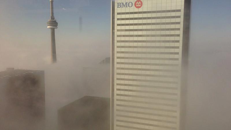 Fog dissipates over Toronto