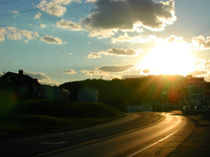 Lookind down the road towards the beautiful setting sun one September day.