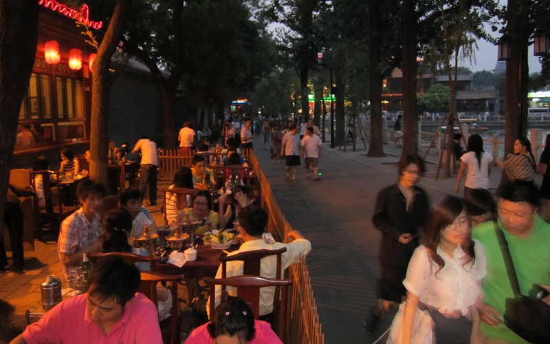 "We went out the first night to Houhai (""hoe-hi"") which includes a lake surrounded by restaurants and bars"