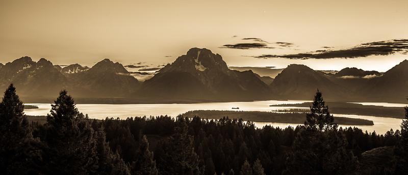Sunset over Teton Range from Signal Mountain - Jackson Overlook