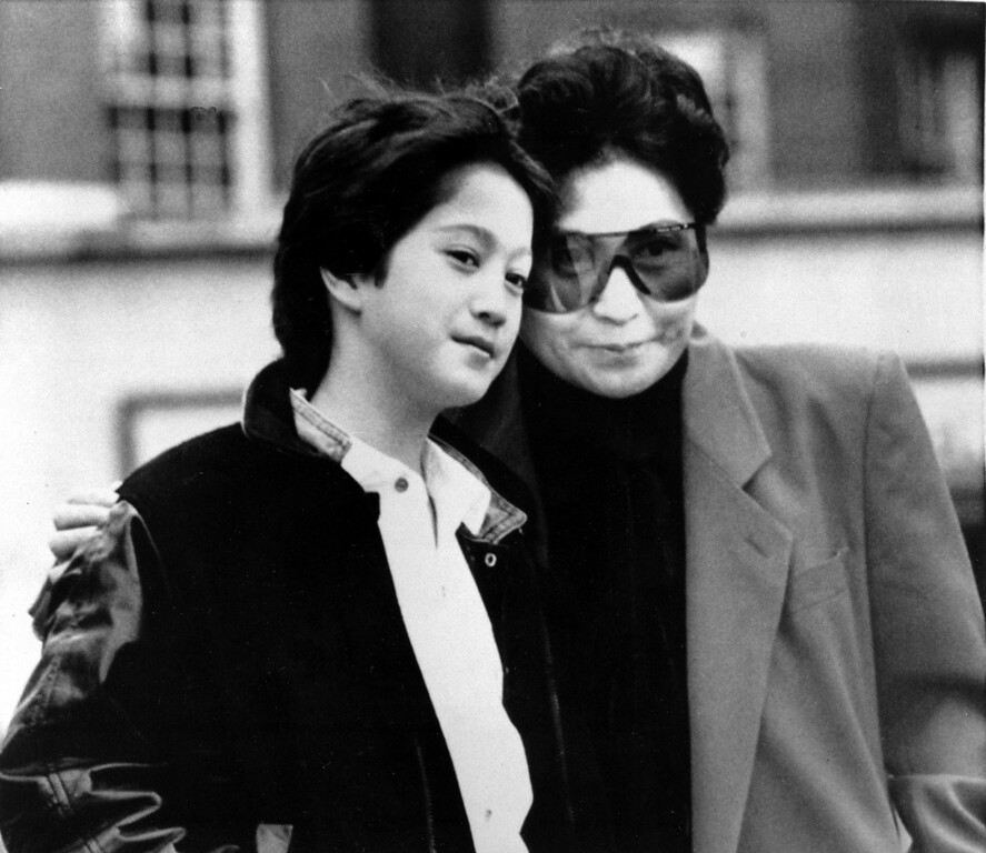 . Yoko Ono, widow of John Lennon, and their son, Sean, 10, are shown in London, England, March 20, 1986.  Ono will perform in concert at the Wembley Conference Center on her Starpeace Tour, taking in 33 cities in seven weeks.  (AP Photo/Richard Price)