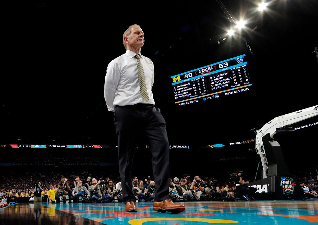 . Michigan head coach John Beilein reacts during the second half in the championship game of the Final Four NCAA college basketball tournament against Villanova, Monday, April 2, 2018, in San Antonio. (AP Photo/Eric Gay)