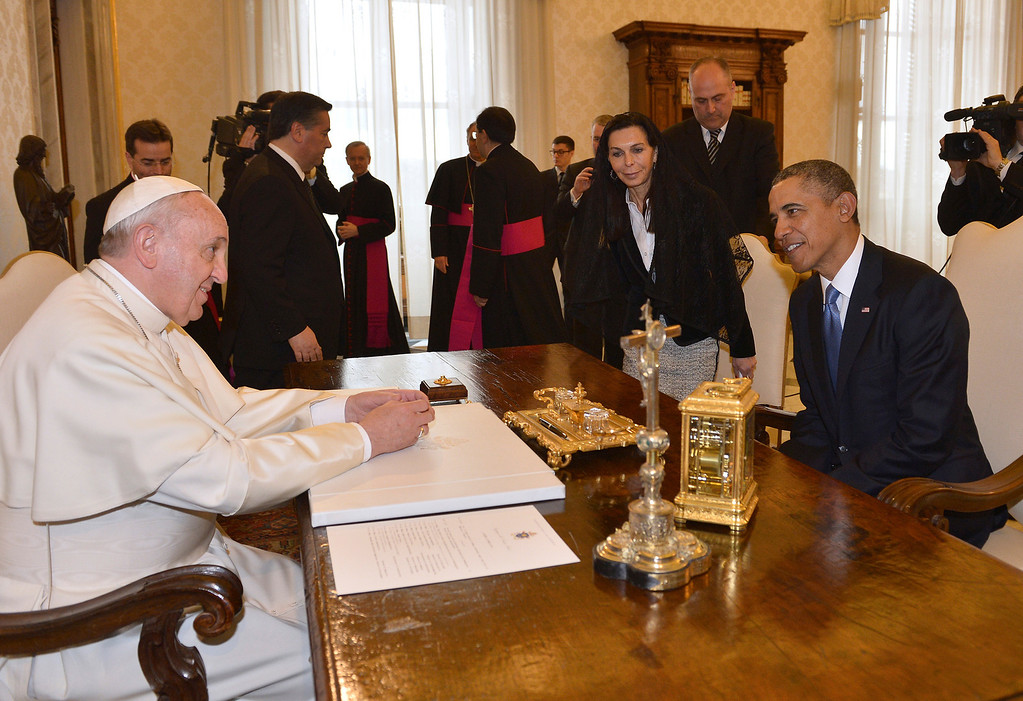 . Pope Francis meets President Barack Obama at the Vatican Thursday, March 27, 2014. (AP Photo/Gabriel Bouys, Pool)