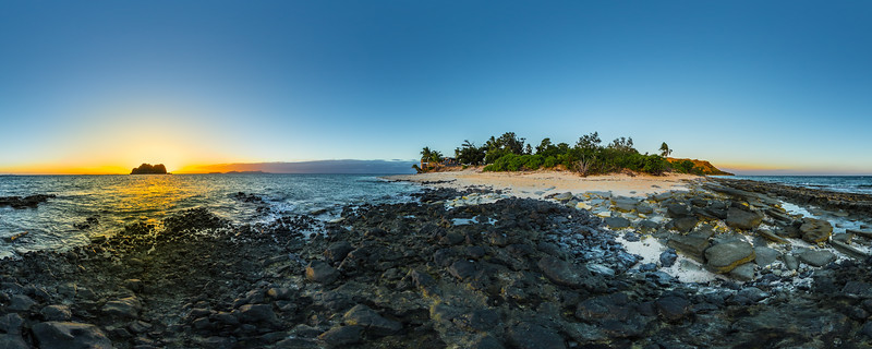 Sunset behind Vomo Lailai Island from Vomo Island - Fiji Islands