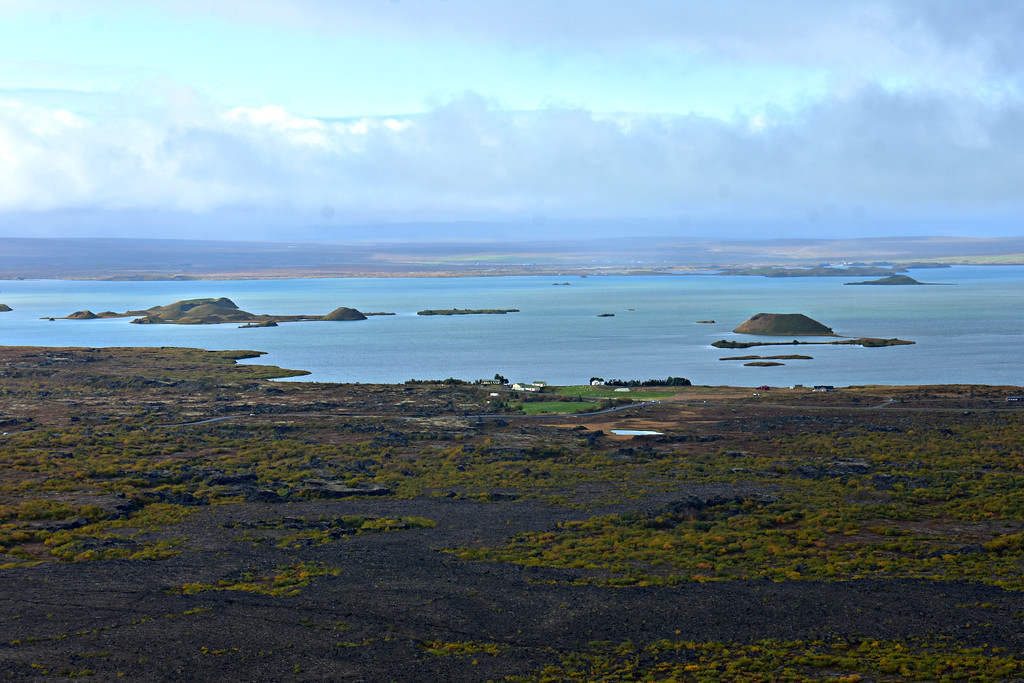View of Pseudocraters of Skútustaðir in Lake Mývatn from Viti Crater in Iceland