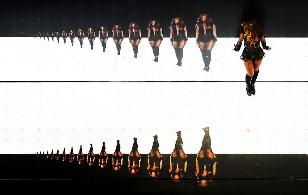 . Singer Beyonce performs during the Pepsi Super Bowl XLVII Halftime Show at the Mercedes-Benz Superdome on February 3, 2013 in New Orleans, Louisiana.  (Photo by Chris Graythen/Getty Images)