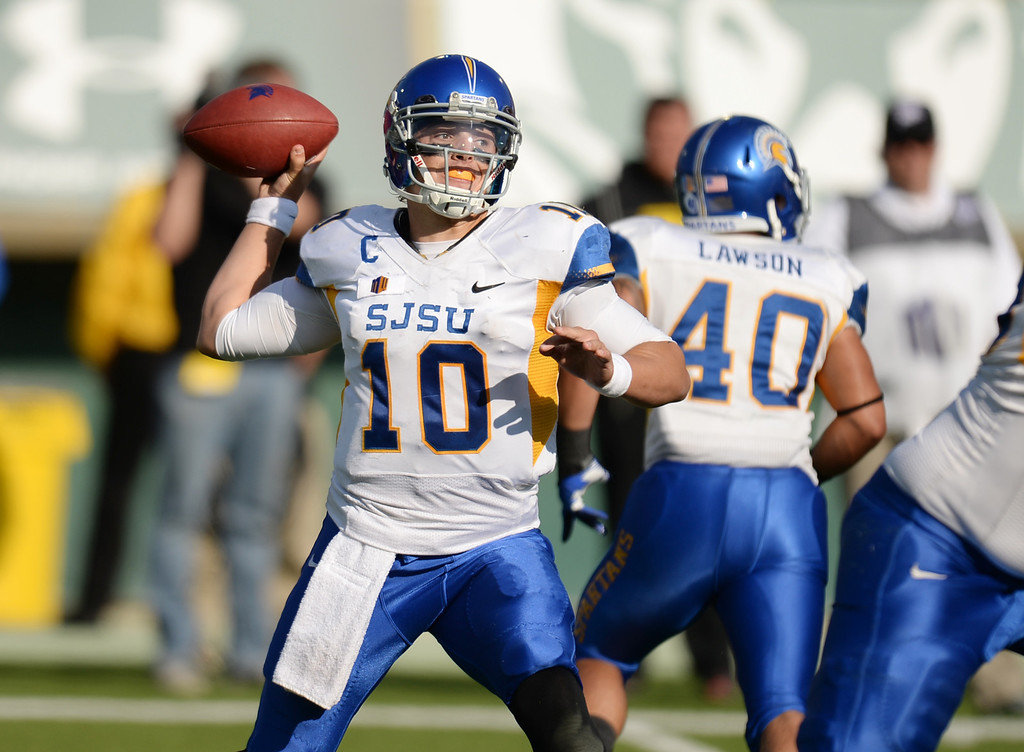 . FORT COLLINS, CO - OCTOBER 12 : Quarterback David Fales of San Jose State (10) looks to make a pass during the 3rd quarter of the game at Hughes Stadium. Fort Collins. Colorado. October 12, 2013. San Jose won 34-27. (Photo by Hyoung Chang/The Denver Post)