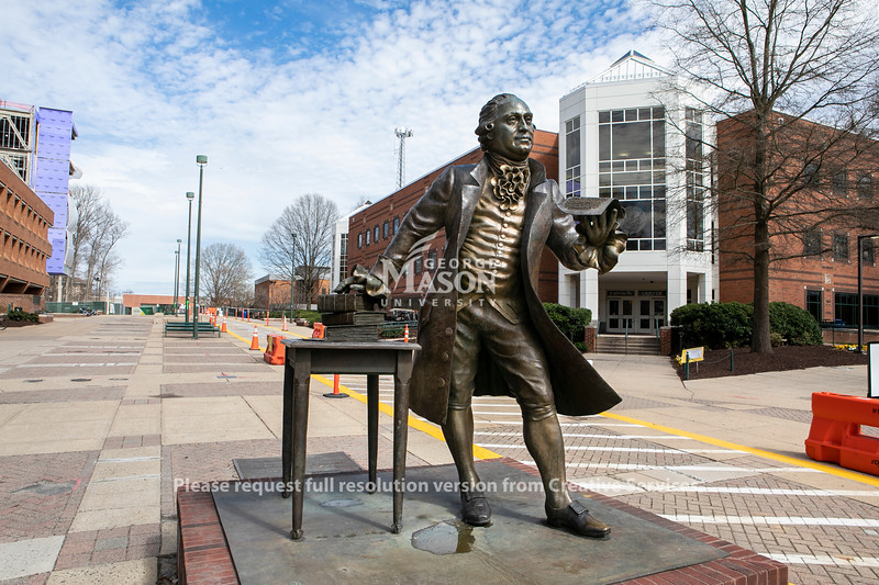 The George Mason statue on Fairfax Campus during the outbreak of coronavirus/COVID-19.  Photo by:  Ron Aira/Creative Services