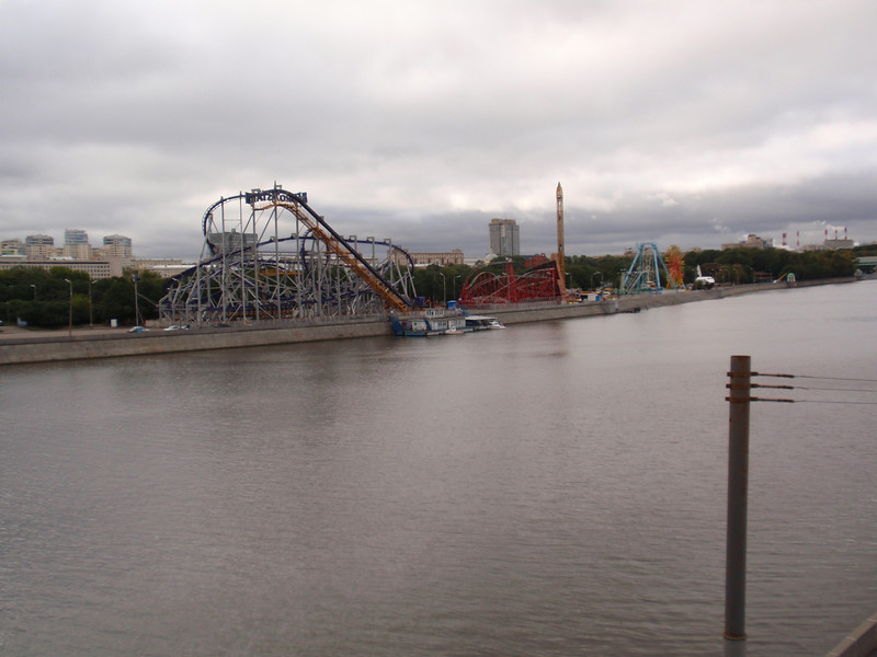 A view of the amusement park in Gorky Park.