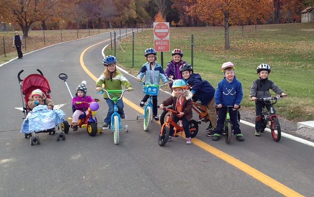 Our biking crew on a beautiful fall afternoon. Maggie, Jo, Avery, Haven, Charlotte, Amelia, William, Patrick, and Will. Hakon and Sarah were just arriving for a grand total of 4 adults and 11 kids!
