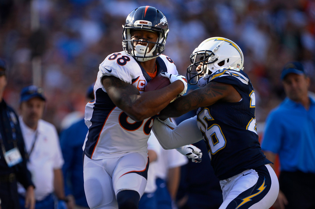 . SAN DIEGO, CA. December 14, - wide receiver Demaryius Thomas #88 of the Denver Broncos makes a sideline catch in the first half vs the San Diego Chargers at Qualcomm Stadium December 14, 2014 San Diego, CA (Photo By Joe Amon/The Denver Post)