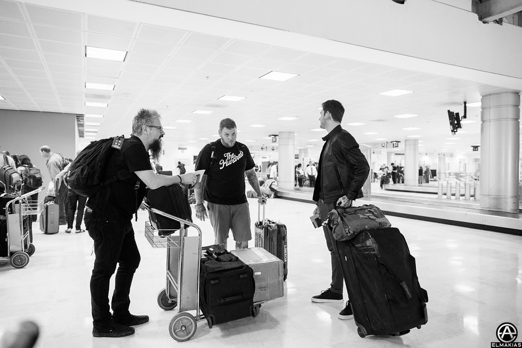Tour Manager guy with David and Neil, customs in Mexico