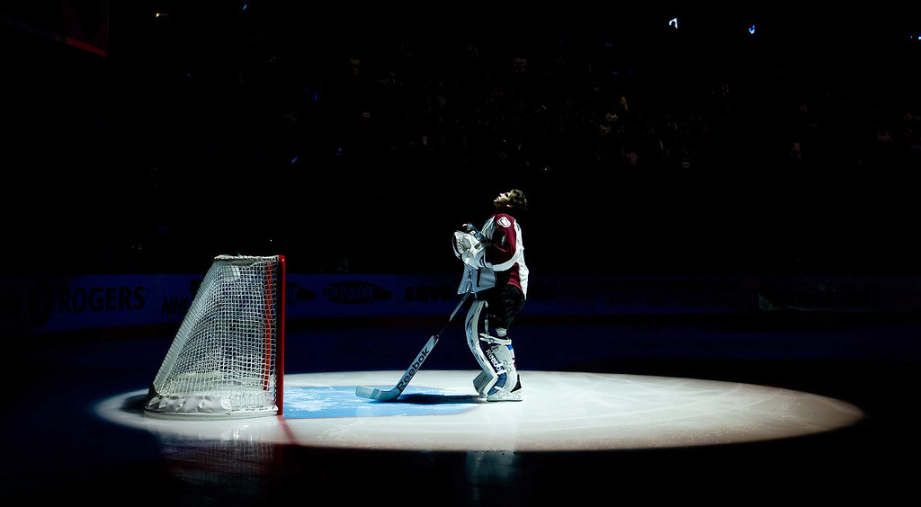 . Colorado Avalanche goalie Semyon Varlamov stands at the top of the goal crease during the singing of the Canadian and U.S. national anthems prior to an NHL hockey game against the Vancouver Canucks in Vancouver, British Columbia, on Wednesday, Jan. 30, 2013. (AP Photo/The Canadian Press, Darryl Dyck)