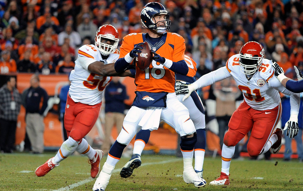 . Denver Broncos quarterback Peyton Manning sets up to throw in the second quarter against the Kansas City Chiefs at Sports Authority Field at Mile High in Denver on November 17, 2013. (Photo by Steve Nehf/The Denver Post)