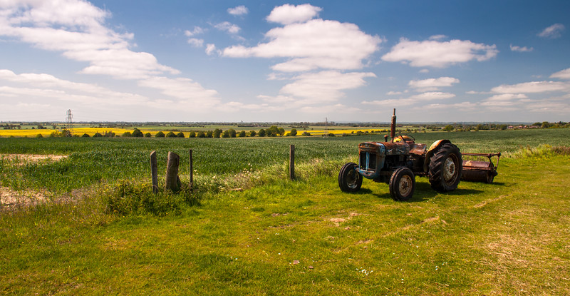 Vintage tractor in Kent countryside