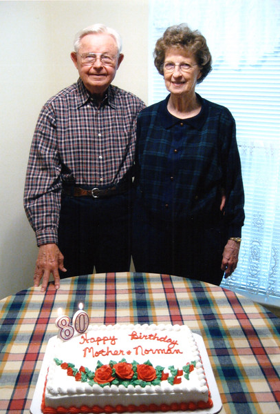 2003-03-01 Norman and Annie Thompson with their 80th birthday cake.jpg