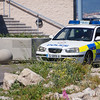 The Royal Gibraltar Police patrols in continous patrols of Waterport Terraces by Western Arm, Gibraltar.