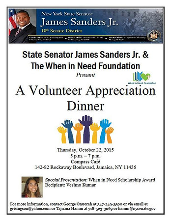 Senator James Sanders Jr. &  The WIN Foundation Presents-A Volunteer Appreciation Dinner