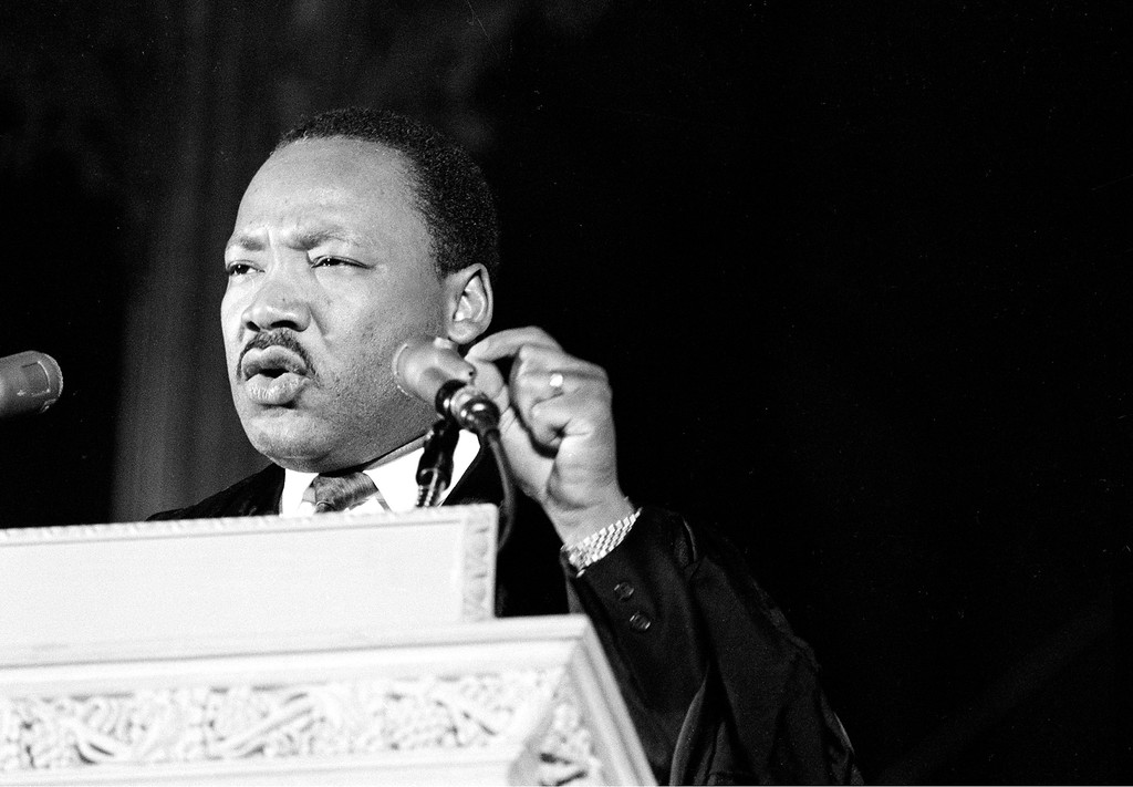 . Dr. Martin Luther King Jr., discusses his planned poor people\'s demonstration from the pulpit of the Washington National Cathedral in Washington, D.C., March 31, 1968.  (AP Photo)